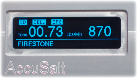 The AccuSalt can display salt application rate to help drivers determine how much material they are spreading.
