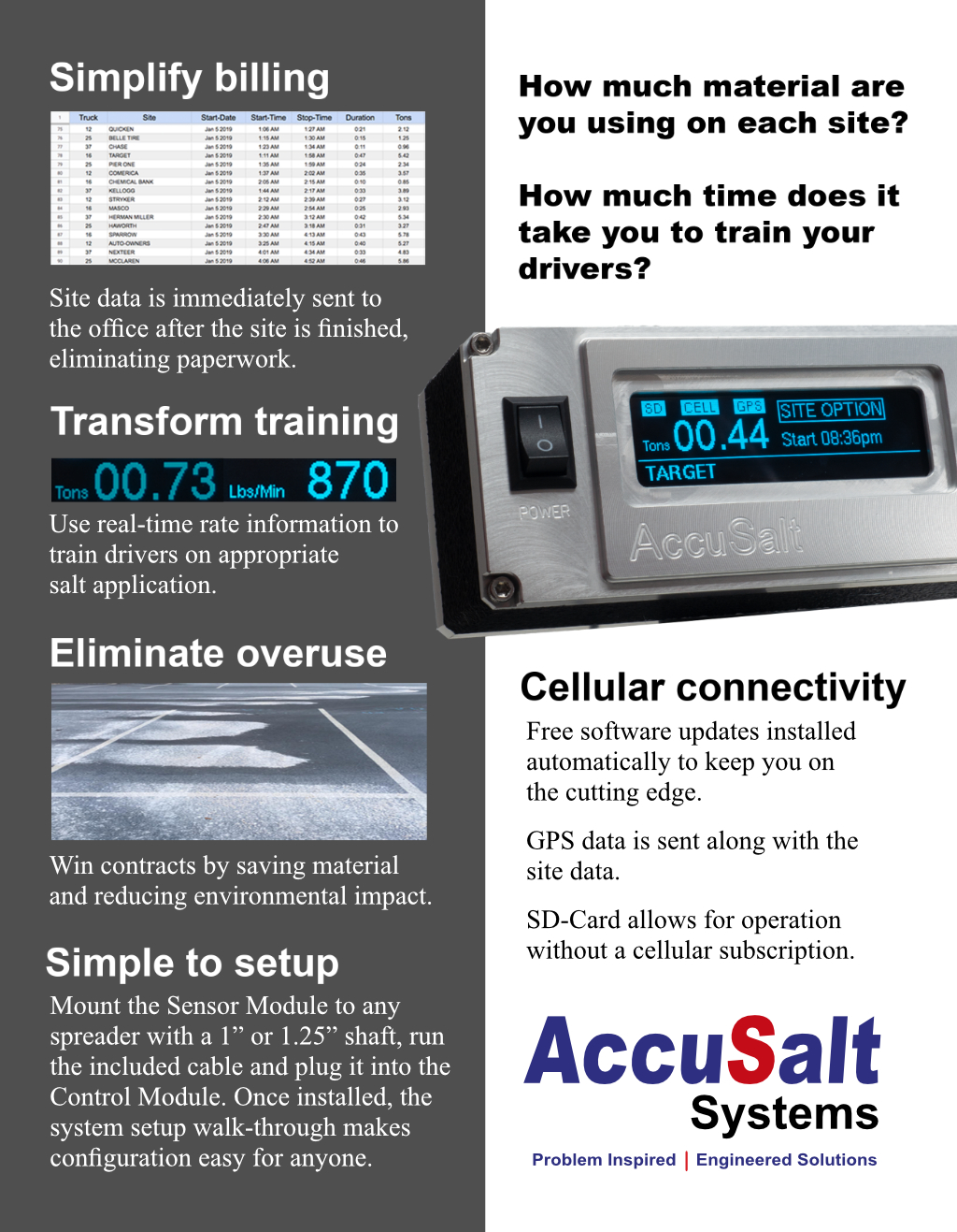 The Accusalt is a great tool that is cellularly connected so the data can be sent back to the office.